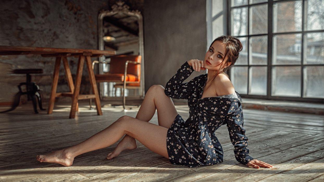 Sensuality sensual sexy woman girl model Venera Hay floor feet legs sitting minidress Georgy Chernyadyev wallpaper