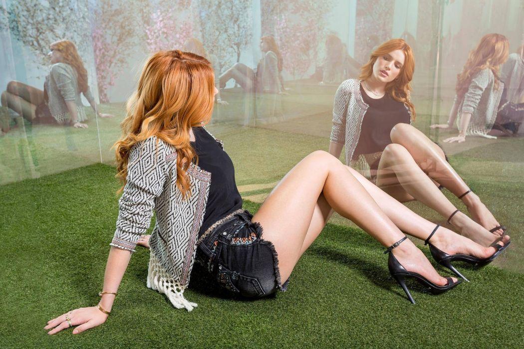 Sensuality sensual sexy woman girl skirt jeans denim torn Bella Thorne singer actress redhead reflection mirror high heels legs wallpaper