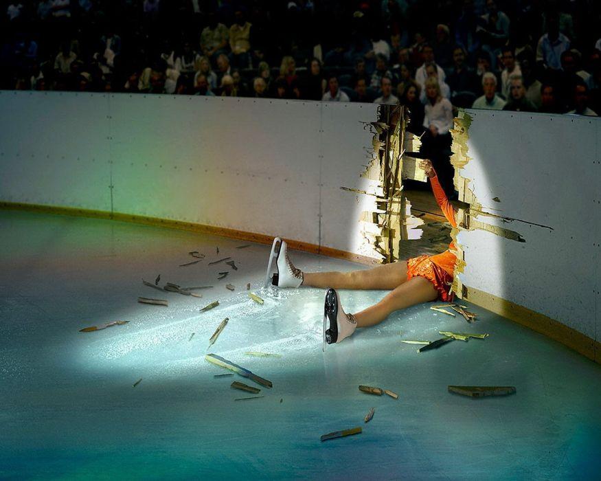abstracto humor mujer caida patinaje hielo wallpaper