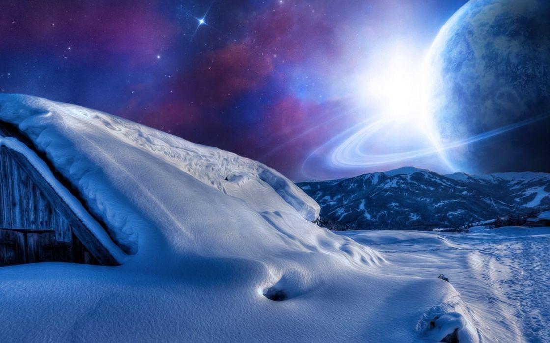 planeta alienigena saturno hielo sci-fi wallpaper