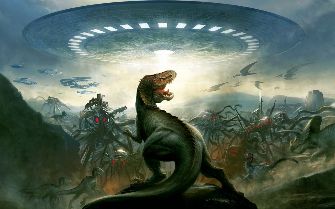 dinosaurio invasion extraterrestre sci-fi wallpaper