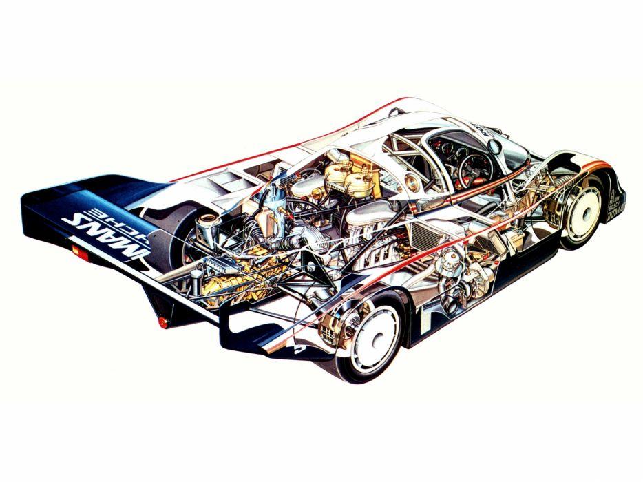 Porsche 956 Classic Race Car Cutaway wallpaper