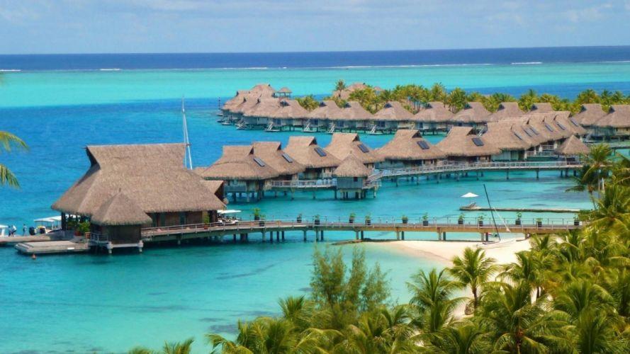 beach-islands-bora-luxury-bungalows-villas-sea-escape-island-french-lagoon-pacific-water-hotel-hilton-tropical-resort-tahiti-atoll-polynesia-blue-paradise wallpaper