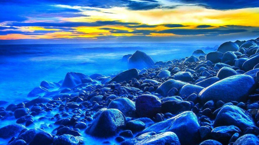 blue-ocean-rocky-beach- beach wallpaper beautiful landscape blue ocean blue sea landscape wallpaper ocean beach rocky beach sea beach wallpaper