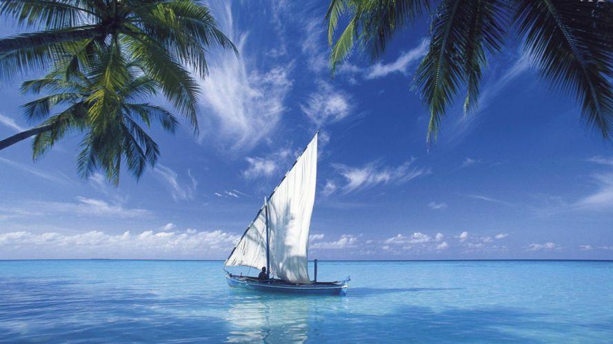 boat-blue-sea wallpaper
