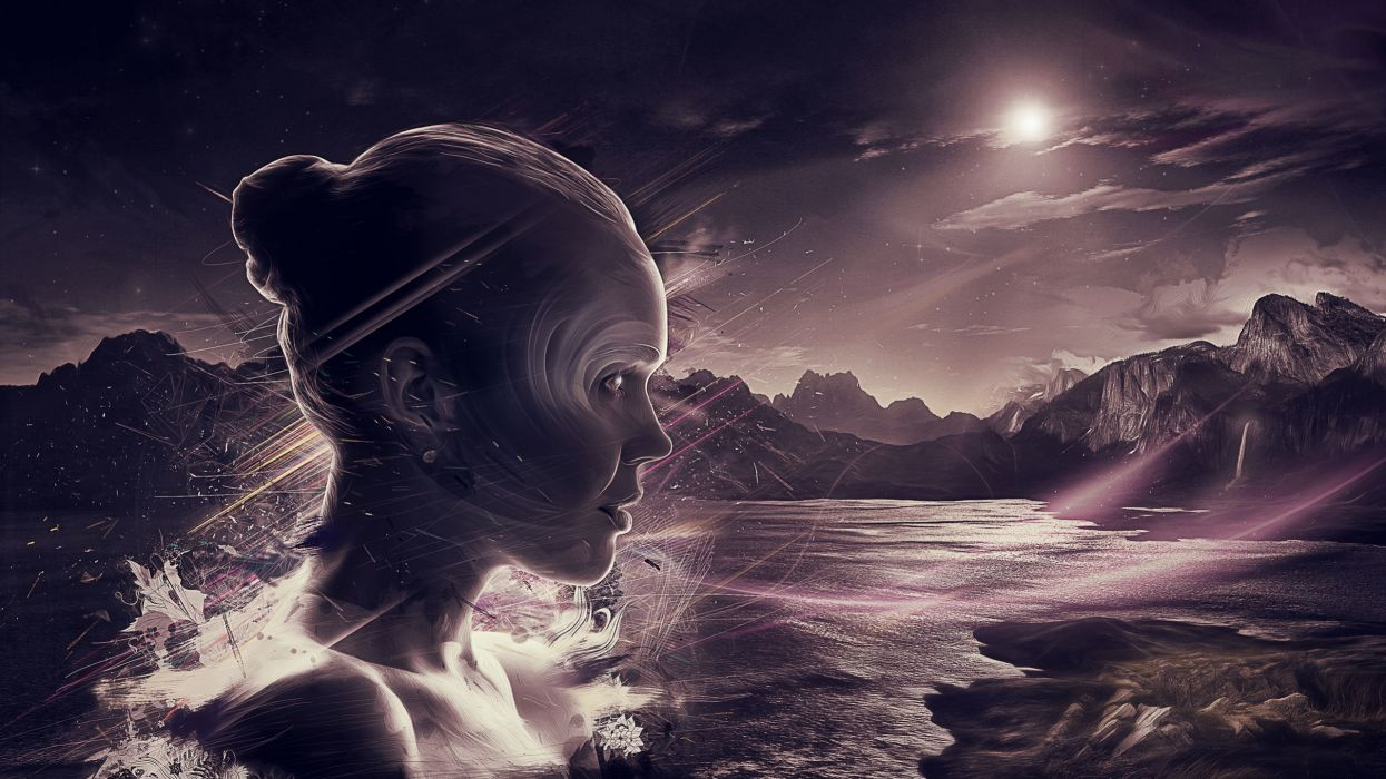 mujer abstracto luna mar wallpaper