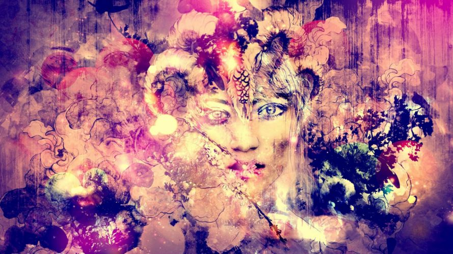 abstract paintings rostro mujer wallpaper
