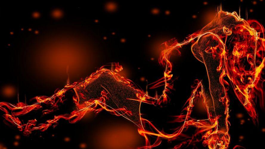 abstracto silueta mujer fuego wallpaper