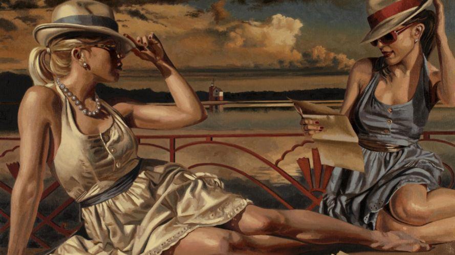 abstracto mujeres playa wallpaper