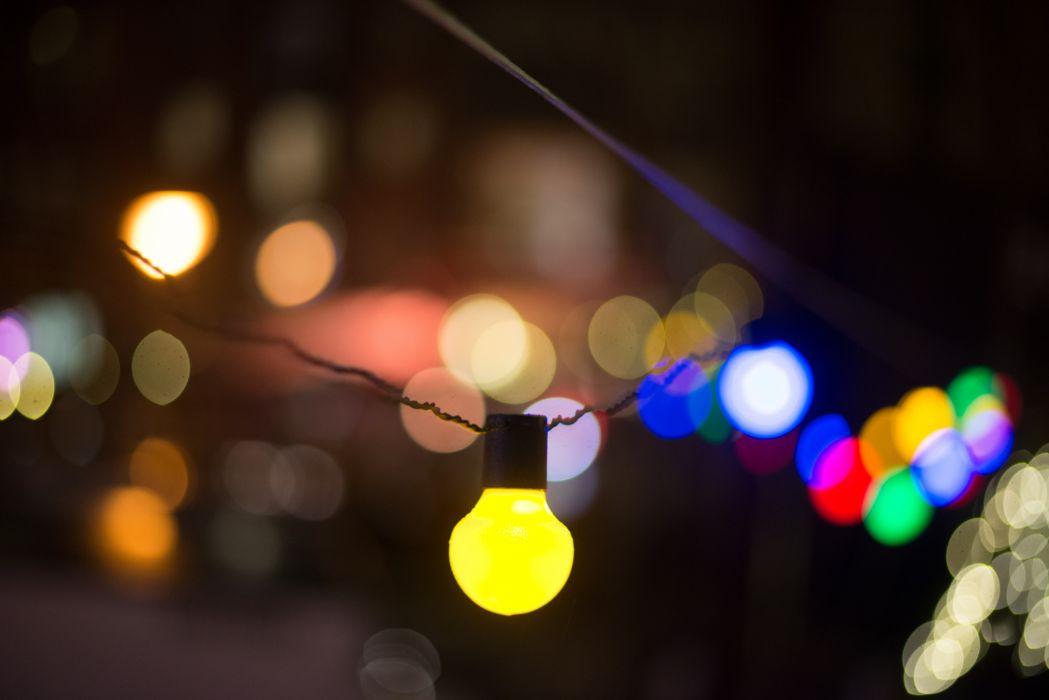 abstract art blur bokeh bright bulbs celebration close-up color colors colour colours dark decorate decoration design field focus hanging illuminated lamp lights wallpaper