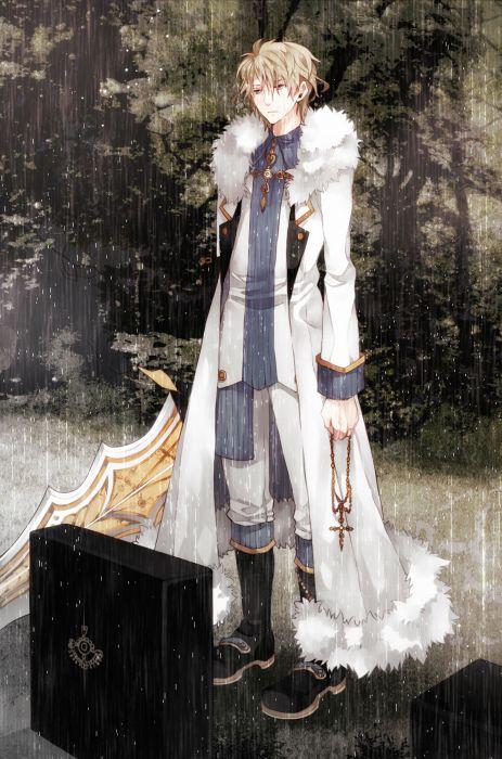anime boy rain blond hair wallpaper