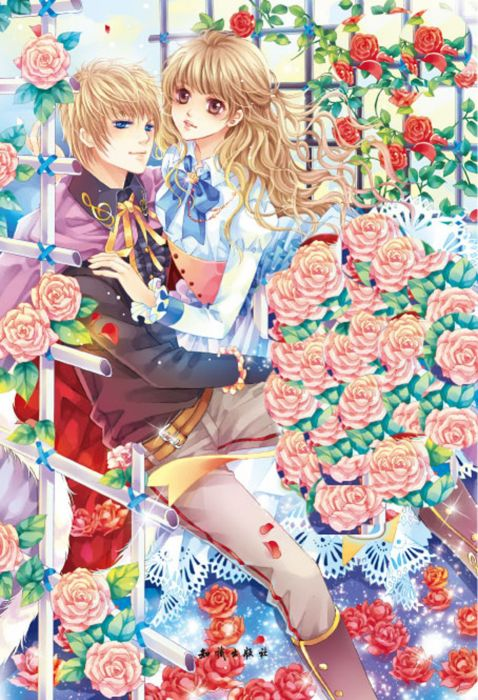 anime girl couple roses flower blonde cute wallpaper