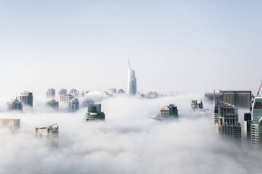 architecture buildings business city cityscape clear sky clouds cloudy cold environment fog foggy futuristic landscape light mist modern nature outdoors scenic smoke storm tower travel urban water weather wallpaper