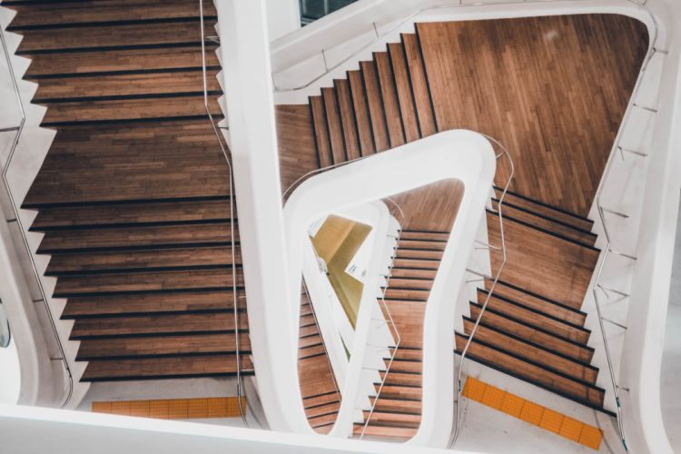 architectural design architecture building business contemporary empty family handrails high angle shot house indoors light luxury modern outdoors perspective spiral staircase wallpaper