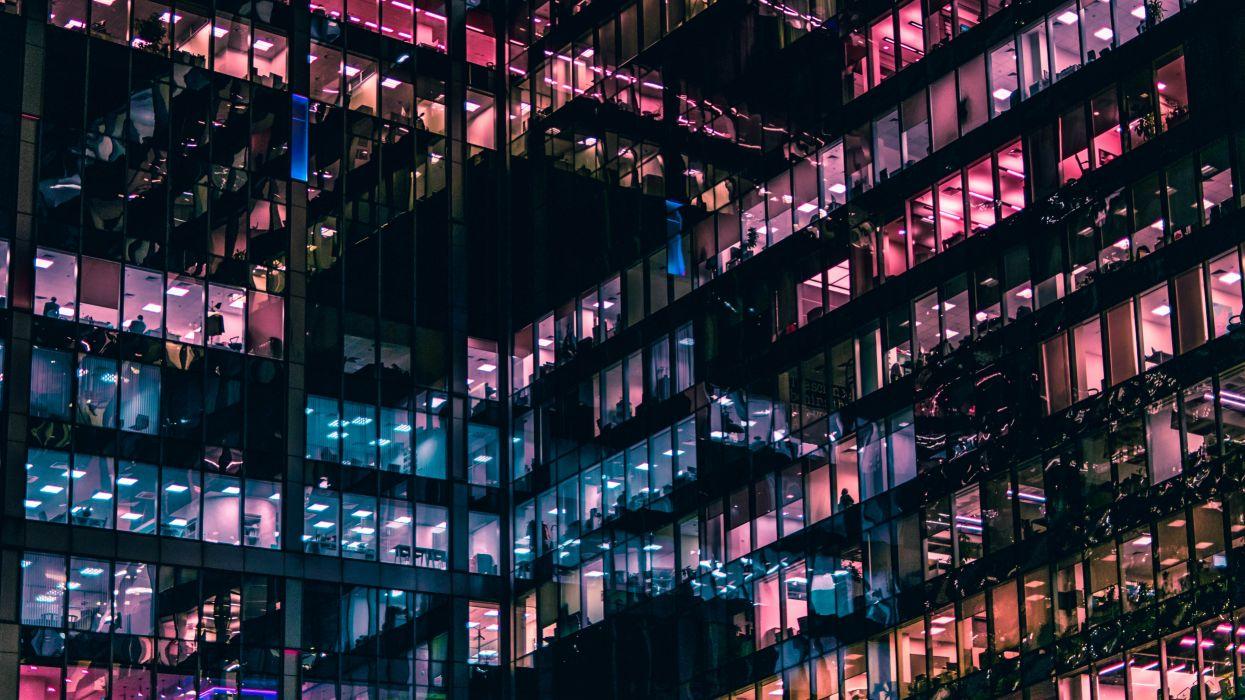 architecture building business city cityscape company contemporary futuristic glass illuminated indoors light lights modern office perspective skyscraper technology urban windows wallpaper