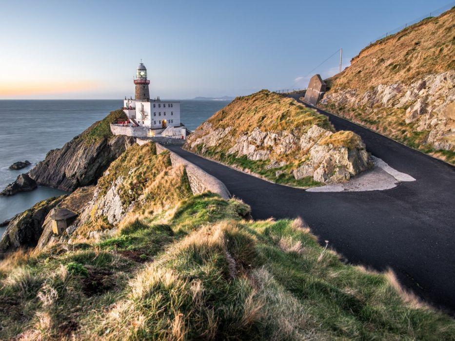 -baily-lighthouse Dublin Ireland road coast sea Baily lighthouse lighthouse cliffs rocks wallpaper