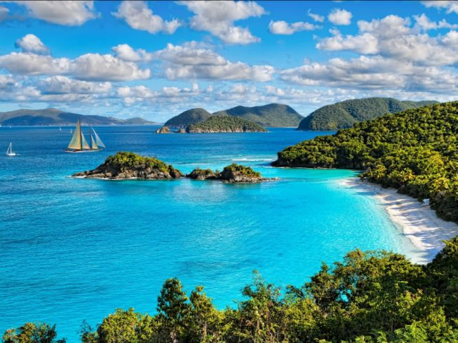 beaches jungle tourism tropical island paradise wallpaper