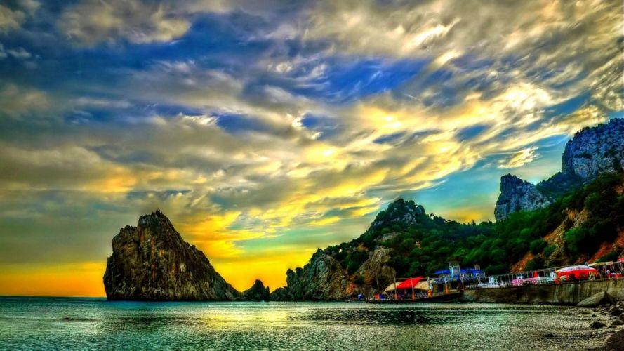 beach-trees-cove-water-sunset-colors-landscape-ocean-clouds-rocks-sky-beaches- wallpaper