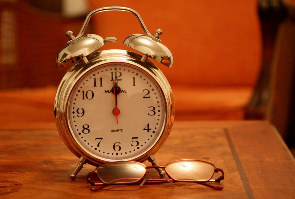 alarm clock Analogue antique classic clock eyeglasses eyewear indoors number orange precision time timer vintage wake watch wood wallpaper