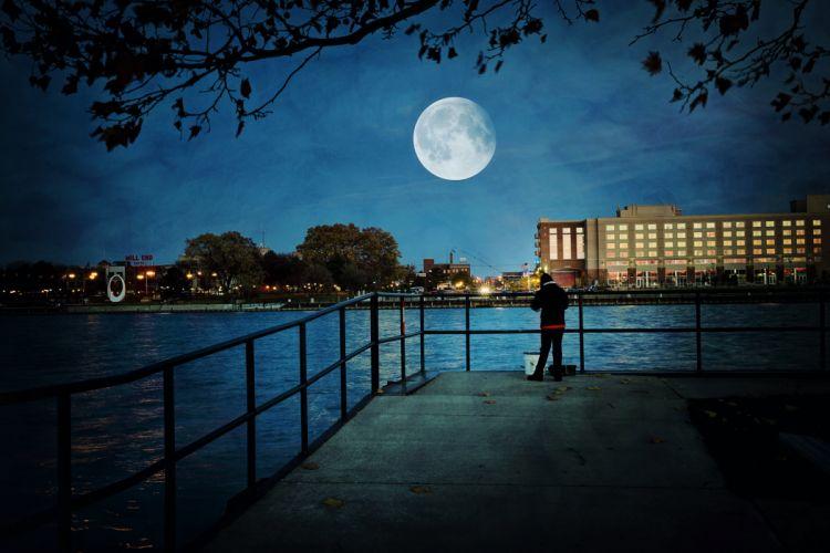 building city evening luna moon super moon tranquil water wallpaper