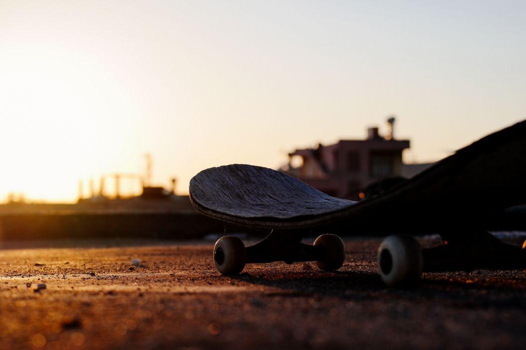 dawn dusk silhouette skateboard sunrise sunset wallpaper
