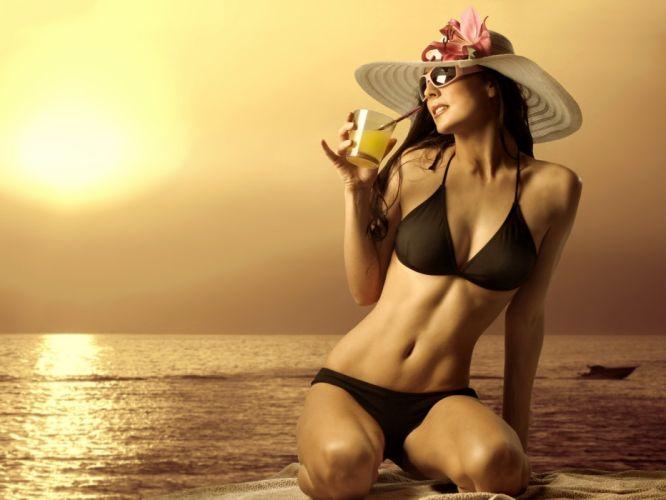 sunset sea model girl cocktail bikini tanha wallpaper