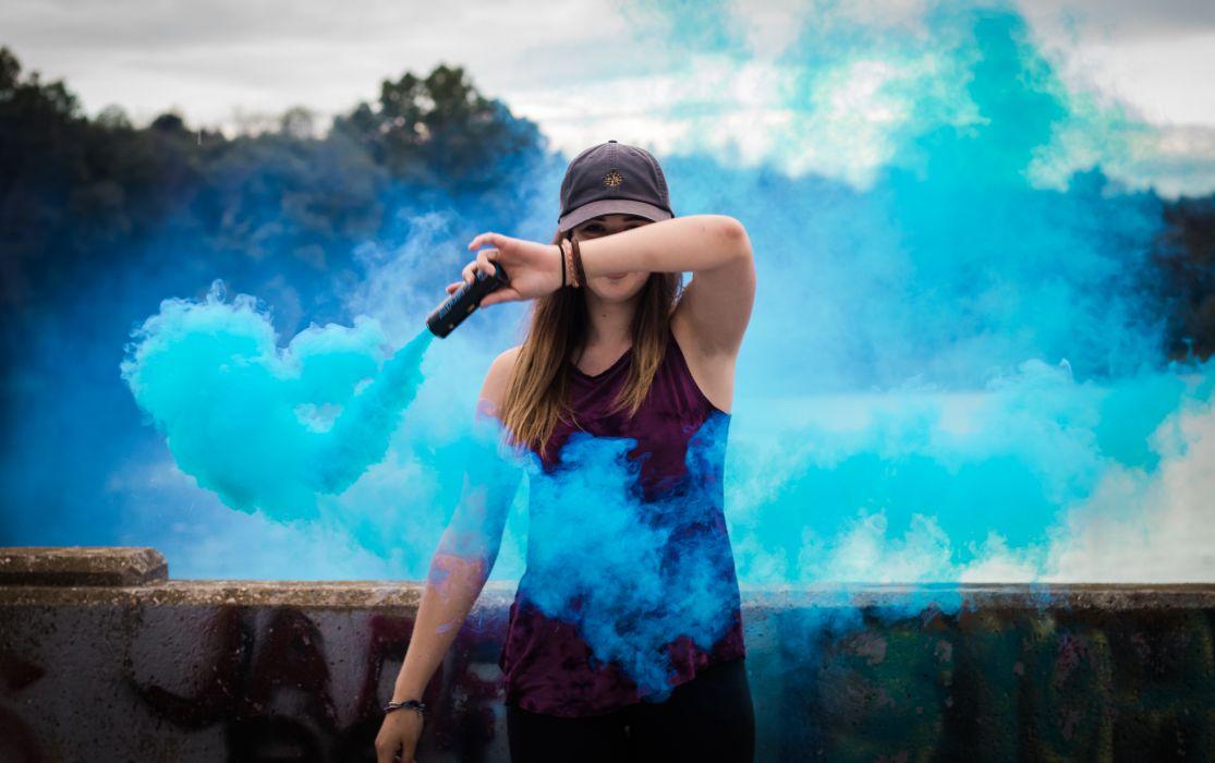 adult blur fashion girl landscape outdoors person rocks smoke woman wallpaper