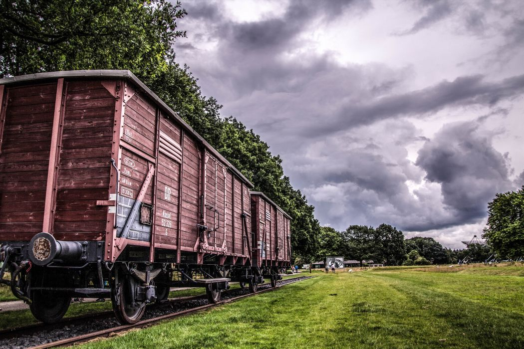 clouds daylight grass landscape outdoors railway track rural sky transportation travel trees wood wallpaper
