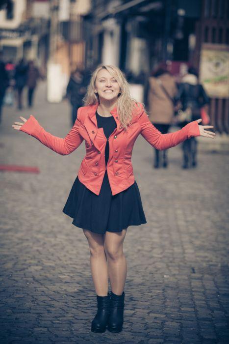 adult beauty blur city cobblestone street colour dress fashion fun girl happy model olor outdoors people smile street wear woman wallpaper