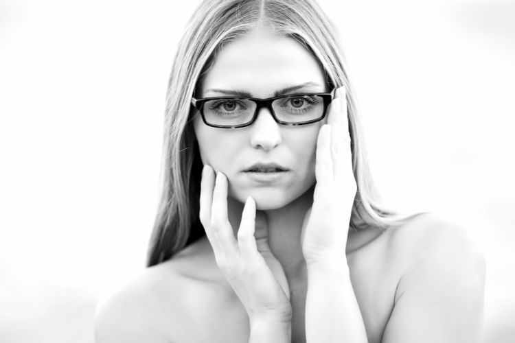 adult black-and-white eyes eyewear face female girl hair hands human lady lips person skin topless woman young wallpaper