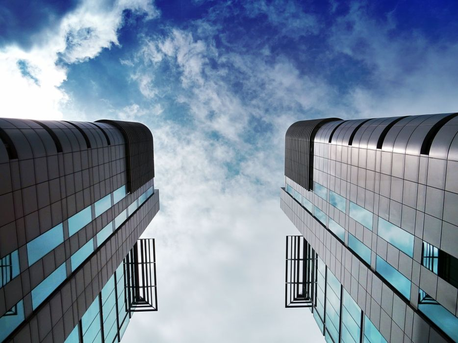 architectural design architecture buildings business city cloudy sky construction contemporary downtown expression facade finance futuristic glass items glass panels glass windows wallpaper
