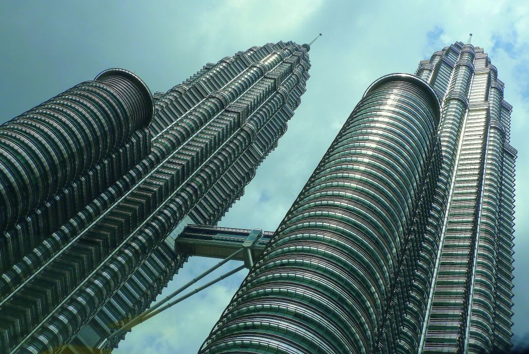 architecture buildings business city cityscape clouds expression facade landmark low angle shot Malaysia modern perspective petronas twin towers sky skyscrapers tall tower urban wallpaper