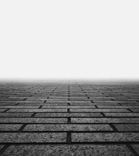 brick wall lines monochrome pattern worm's eye view wallpaper