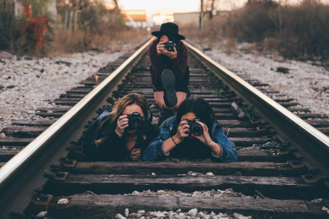 cameras photographers raildroad railway women wallpaper