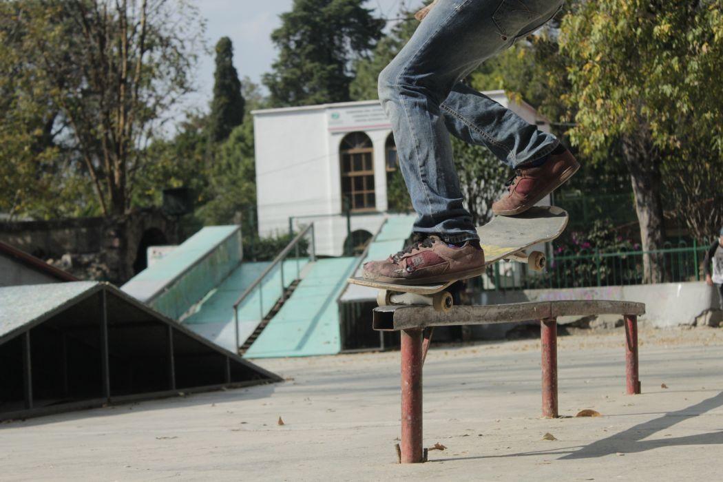 building dc handrail jeans legs nosegrind ramp shoes skate park skateboard skater skating sport square bar steel trees trick wallpaper