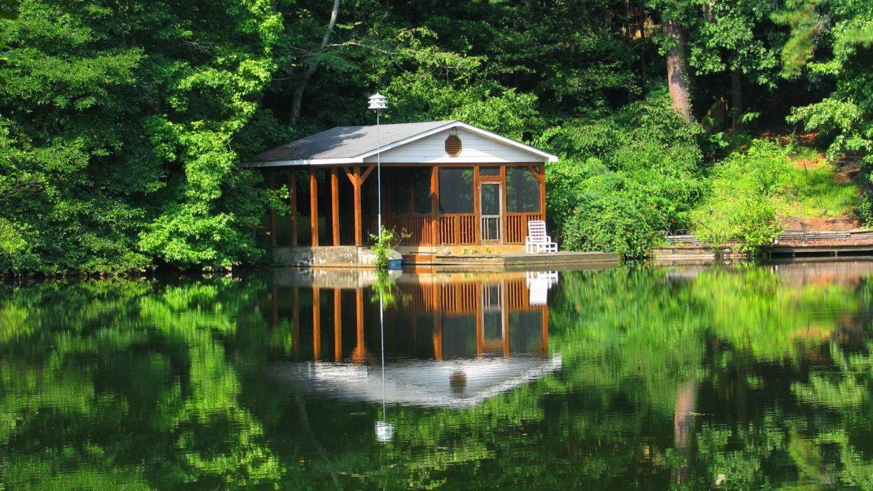 Lake Cabin Woods Fishing House Summer Lakeshore Cottage
