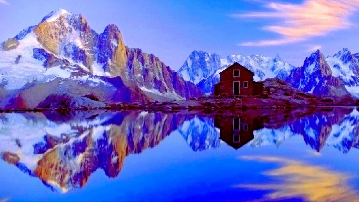 lake-france-french-mountains-house-alps-landscape-reflections-water-snow-superior wallpaper