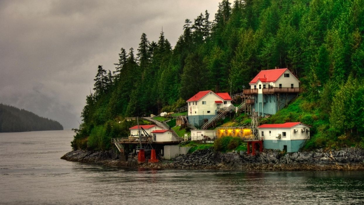 lake-lakeside-lovely-shore-lae-forest-riverside-houses-hill wallpaper