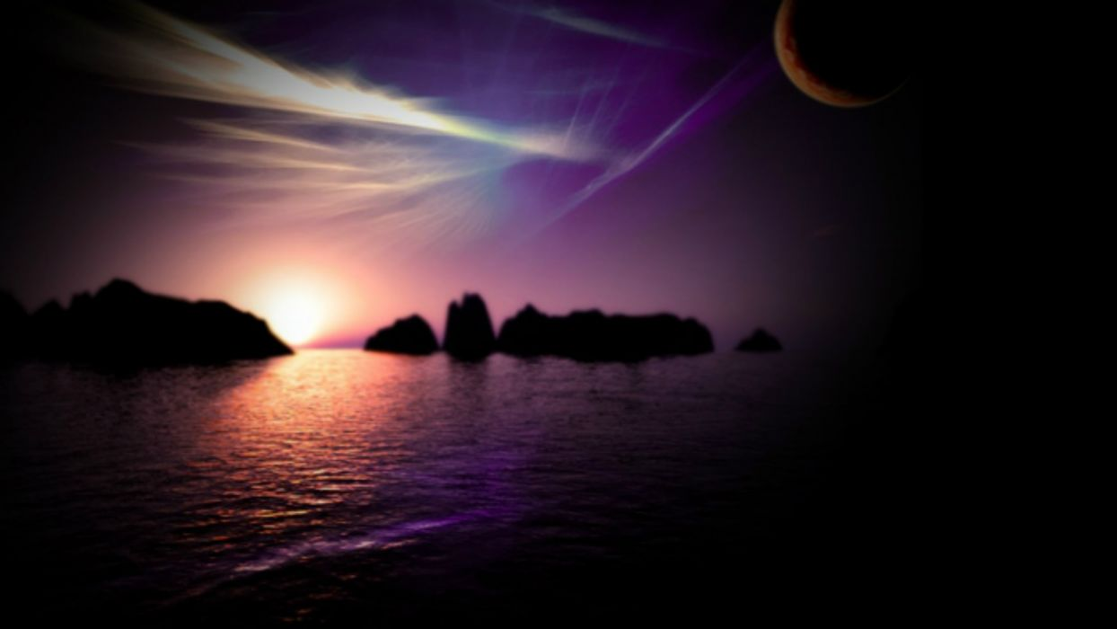 magic night landscape magic night nature purple night SUN AND MOON wallpaper