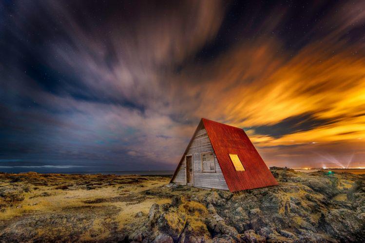 Iceland night home light sky stars wallpaper