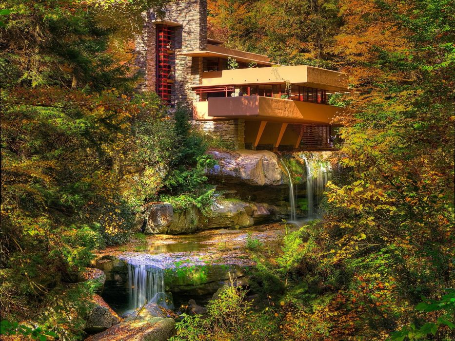 House above waterfall wallpaper