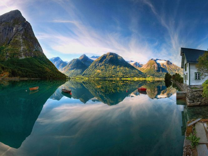 mountains fjord norway boat reflection water wallpaper