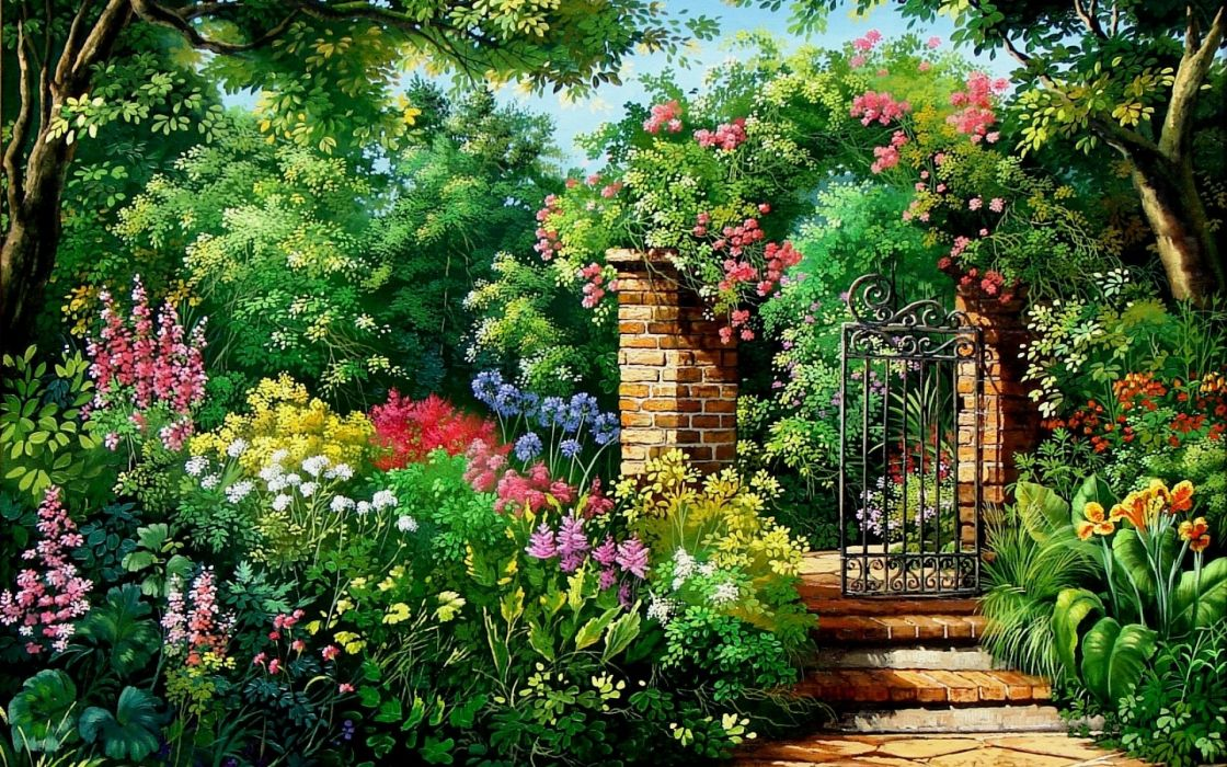 Charming flowers and garden gate wallpaper