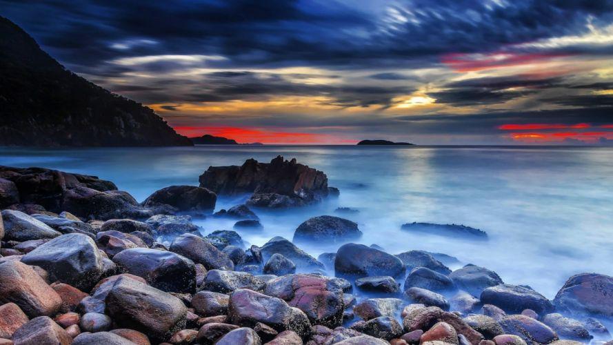 oceans-sunset-ocean-view-clouds-sky-splendor-sea-nature wallpaper
