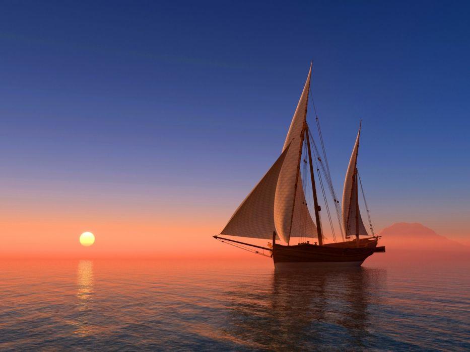 sea sky sun sunrise coast boat sailboat horizon 3D Graphics wallpaper