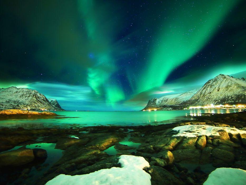 sea stars snow mountains night rocks Norway Northern Lights Norway Lofoten Lofoten islands wallpaper
