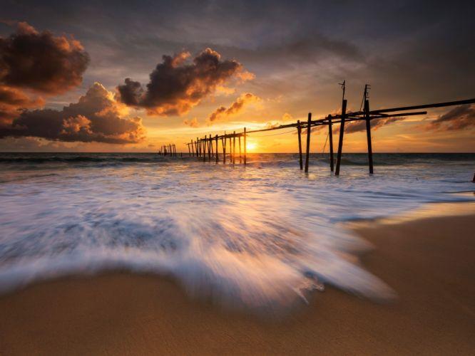 Sea Thailand evening beach sunset wallpaper