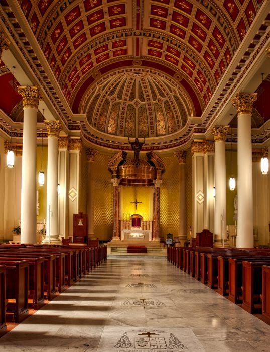 aisle altar arch architecture art artwork beautiful benches building cathedral catholic ceiling church classic details faith indoors wallpaper