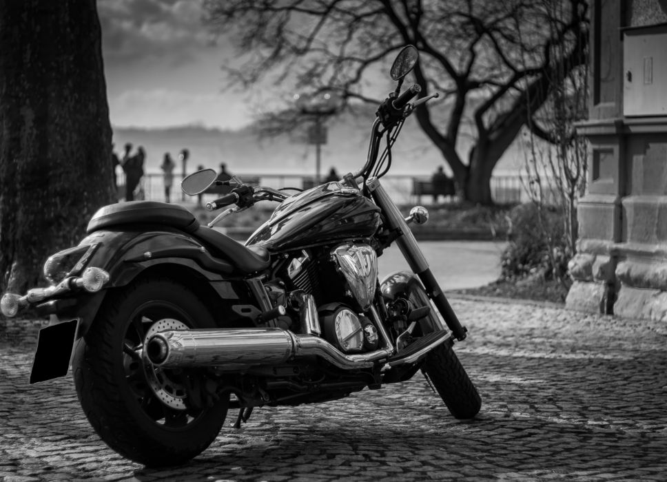 black-and-white chrome city cycling metal metallic motor motorcycle passion shiny silver transportation system trees vehicle wheels wallpaper