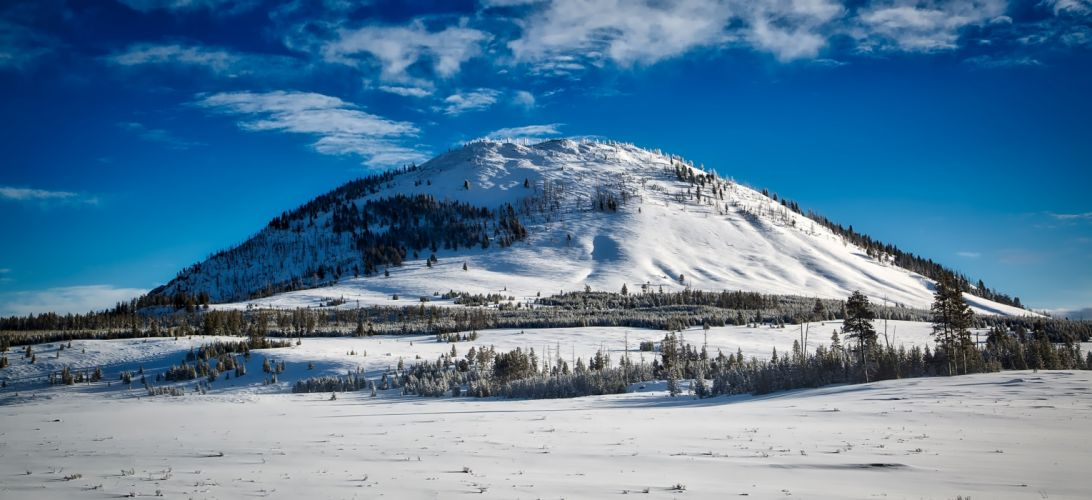bunsen peak clouds cold country countryside daylight forest freezing frozen hills ice landscape meadow mountain national park outdoors scenic snow travel trees wallpaper